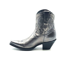 "Load image into Gallery viewer, Women's Short Silver Cowboy Boots Western Stitch Patten Classic Toe Medallion 7"" Height Snip Toe 2 1/2"" Fashion High Heel Black Sole"