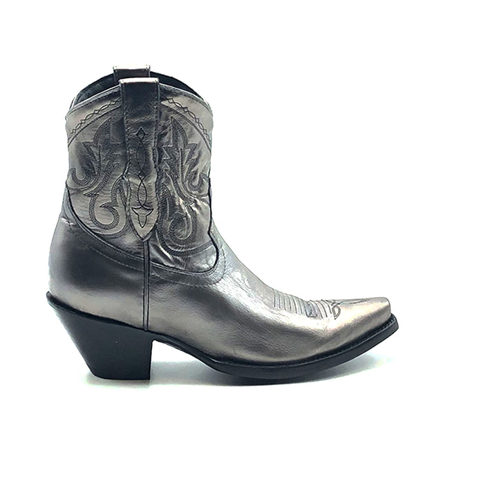 Women's Short Silver Cowboy Boots Western Stitch Patten Classic Toe Medallion 7