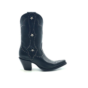 "Women's Black Cowboy Boots with Silver Studs on Crown Collar and Star Studded Mule Ear Pull-Straps Black Stitched Classic Toe Medallion 11"" Height Elongated Rounded Point Toe 3"" Fashion High Heel Black Sole"