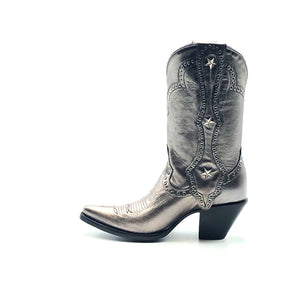 "Women's Metallic Silver Cowboy Boots with Silver Studs on Crown Collar and Star Studded Mule Ear Pull-Straps Silver Stitched Classic Toe Medallion 11"" Height Elongated Rounded Point Toe 3"" Fashion High Heel Black Sole"