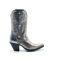 "Load image into Gallery viewer, Women's Metallic Silver Cowboy Boots with Silver Studs on Crown Collar and Star Studded Mule Ear Pull-Straps Silver Stitched Classic Toe Medallion 11"" Height Elongated Rounded Point Toe 3"" Fashion High Heel Black Sole"
