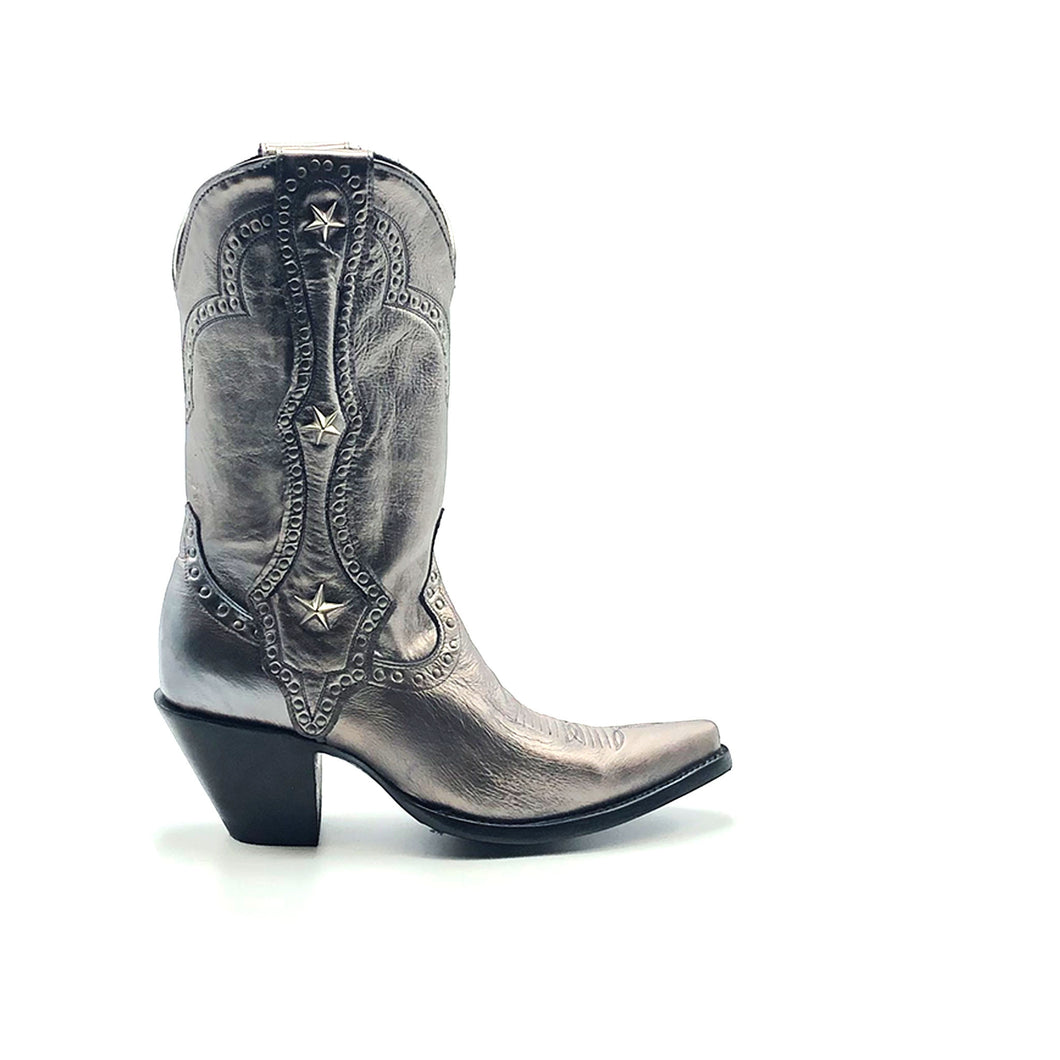 Women's Metallic Silver Cowboy Boots with Silver Studs on Crown Collar and Star Studded Mule Ear Pull-Straps Silver Stitched Classic Toe Medallion 11