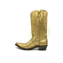 "Load image into Gallery viewer, Women's Washed Gold Cowboy Boots with Gold Vintage Pattern Stitch on Shaft and Gold Classic Western Toe Medallion 12"" Height Pointed Toe 1 1/4"" Heel Distressed Brown and Gold Sole"