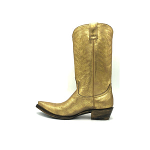 "Women's Washed Gold Cowboy Boots with Gold Vintage Pattern Stitch on Shaft and Gold Classic Western Toe Medallion 12"" Height Pointed Toe 1 1/4"" Heel Distressed Brown and Gold Sole"