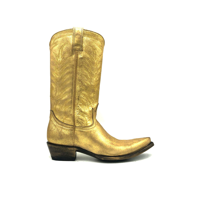 Women's Washed Gold Cowboy Boots with Gold Vintage Pattern Stitch on Shaft and Gold Classic Western Toe Medallion 12