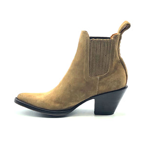 "Women's Tan Suede Ankle Cowboy Boots Tan Calf Lining Gore Side Openings 6"" Height Pointy Round Toe 3"" Fashion High Heel Teak Sole"