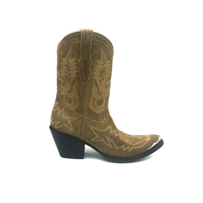 Women's Tan Suede Short Cowboy Boots Tan Flame Stitch on Vamp with Tan Stitch Classic Toe Medallion Tan Fancy Western Stitch Pattern on Shaft Silver Metal Toe Rand 10