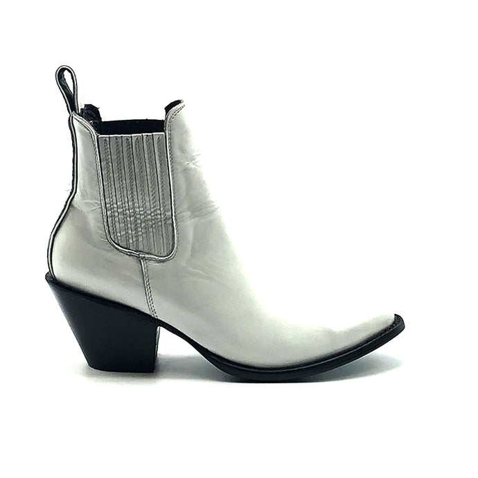 Women's White Ankle Cowboy Boots Black Calf Lining Gore Side Openings 6