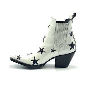 "Women's White Ankle Cowboy Boots Black Star Inlays Gore Side Openings 6"" Height Pointy Round Toe 3"" High Heel Black Sole"