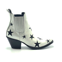 "Load image into Gallery viewer, Women's White Ankle Cowboy Boots Black Star Inlays Gore Side Openings 6"" Height Pointy Round Toe 3"" High Heel Black Sole"