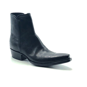 "Stallion Men's Black Calf Ankle Zip Handmade Cowboy Boots 7"" Height 3/4 Snip Toe 1 1/2"" Stacked Leather Heel Black Sole"