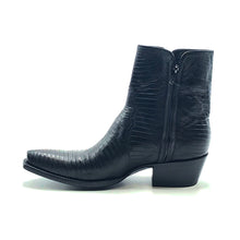 "Load image into Gallery viewer, Stallion Men's Black Lizard Ankle Zip Handmade Cowboy Boots 7"" Height 3/4 Snip Toe 1 1/2"" Stacked Leather Heel Black Sole"