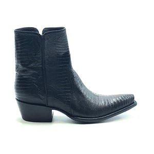 "Stallion Men's Black Lizard Ankle Zip Handmade Cowboy Boots 7"" Height 3/4 Snip Toe 1 1/2"" Stacked Leather Heel Black Sole"