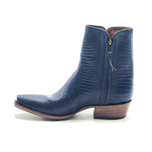 "Stallion Men's Navy Lizard Ankle Zip Handmade Cowboy Boots 7"" Height 3/4 Snip Toe 1 1/2"" Stacked Leather Heel Natural Sole"