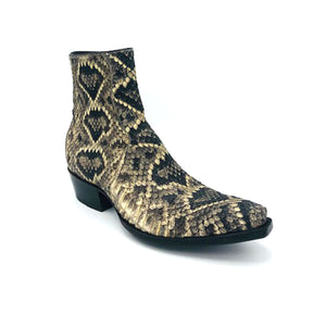 "Stallion Men's Ankle Zip Handmade Cowboy Boots Eastern Diamondback Rattlesnake 7"" Height 3/4 Snip Toe 1 1/2"" Heel Black Sole"