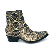 "Load image into Gallery viewer, Stallion Men's Ankle Zip Handmade Cowboy Boots Eastern Diamondback Rattlesnake 7"" Height 3/4 Snip Toe 1 1/2"" Heel Black Sole"