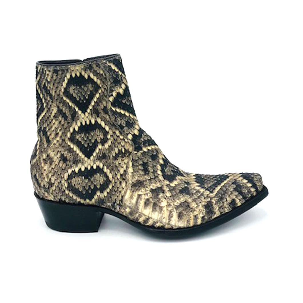 Stallion Men's Ankle Zip Handmade Cowboy Boots Eastern Diamondback Rattlesnake 7
