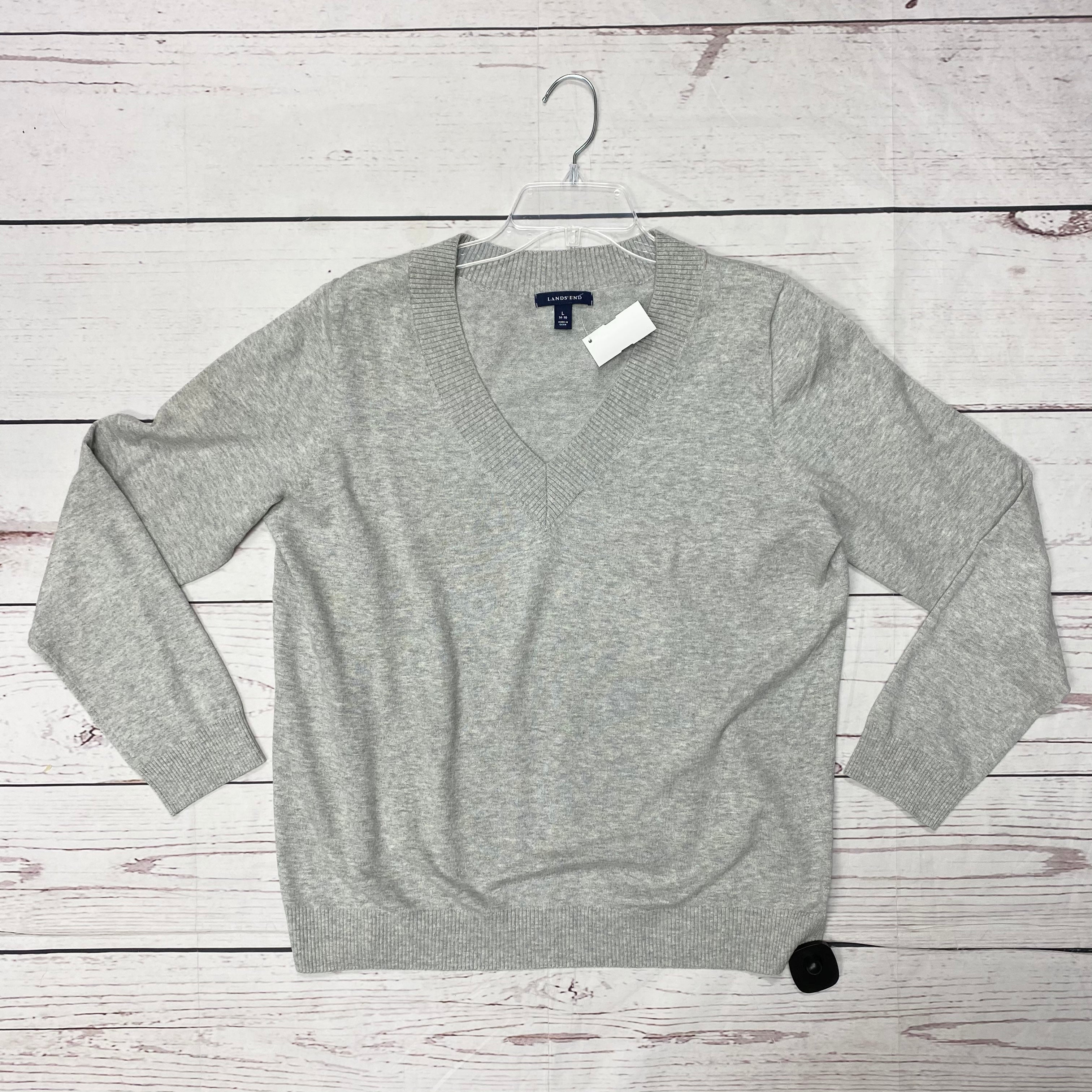 Primary Photo - BRAND: LANDS END <BR>STYLE: SWEATER LIGHTWEIGHT <BR>COLOR: GREY <BR>SIZE: L <BR>SKU: 116-116147-1143