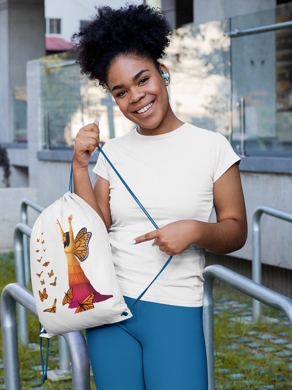 Butterfly Art Drawstring Bag
