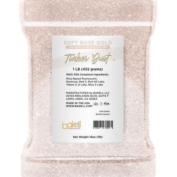 Soft Rose Gold Edible Tinker Dust | Bulk Sizes-Bulk_Tinker Dust-Bakell
