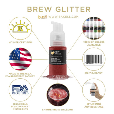 Maroon Red Brew Glitter Spray Pump by the Case-Wholesale_Case_Brew Glitter Pump-Bakell