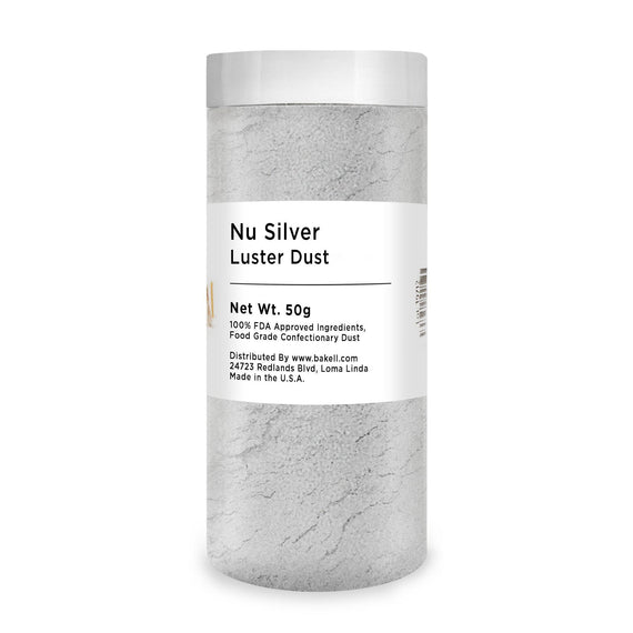 Nu Super Silver Edible Luster Dust | Bulk Sizes-Bulk_Luster Dust-Bakell