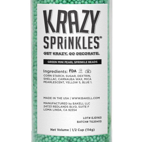 Green Mini Pearl Sprinkle Beads Wholesale (24 units per/ case)-Wholesale_Case_Krazy Sprinkles-Bakell