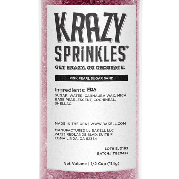 Pink Pearl Sugar Sand Wholesale (24 units per/ case)-Wholesale_Case_Krazy Sprinkles-Bakell