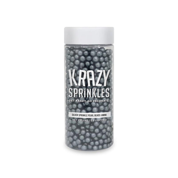 Silver Pearl 4mm Sprinkle Beads Wholesale (24 units per/ case)-Wholesale_Case_Krazy Sprinkles-Bakell