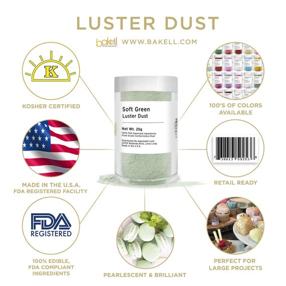 Soft Green Luster Dust by the Case-Wholesale_Case_Luster Dust-Bakell
