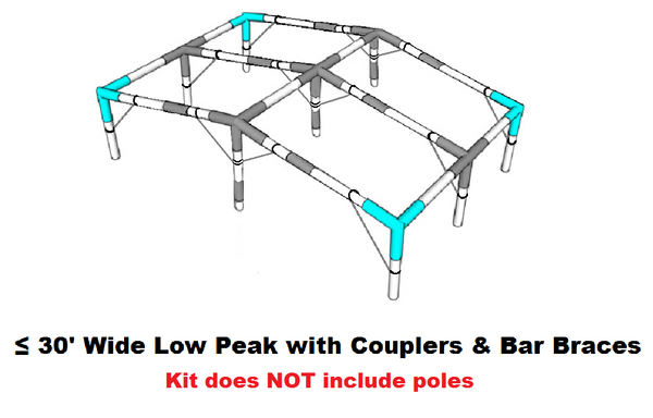 "1-1/2"" Diameter Extra Wide Low Peak Roof Canopy Parts Kit with Couplers & Bar Braces"