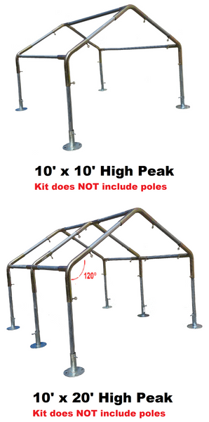 "1"" Diameter High Peak Roof Canopy Parts Kit - All Sizes"