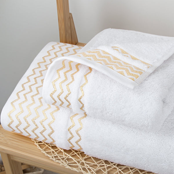 Elegant Linen Gilt Waves Bath and Hand Towel