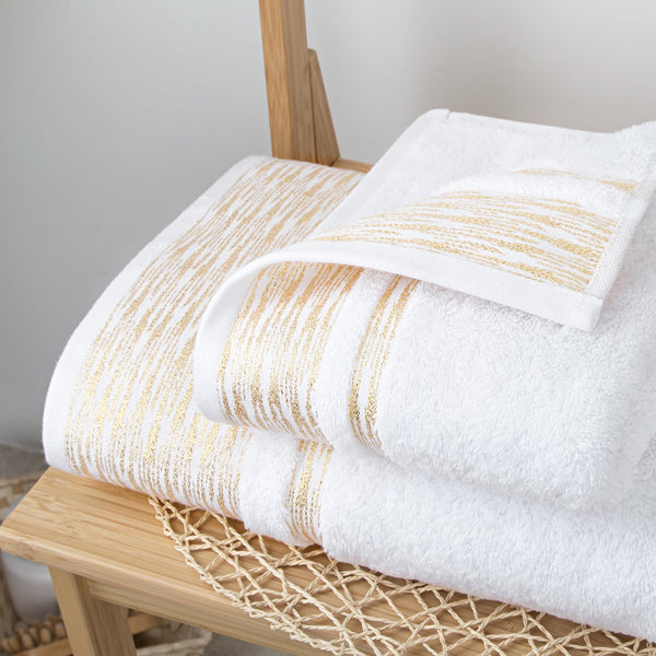 Elegant Linen Gilt Chevron Bath and Hand Towel