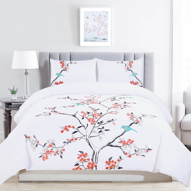 Elegant Linen Bird 4 Piece Bedding set