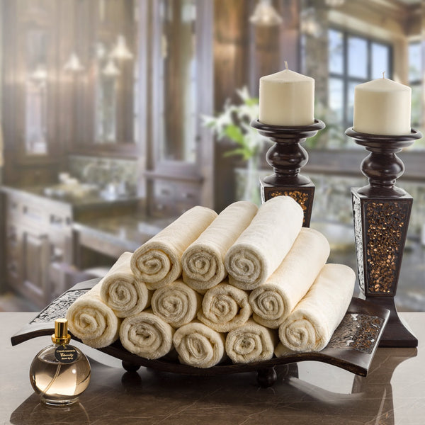 Creative Scents Cotton Velour Fingertip Towel in Cream Color With Cream Lace (set of 4)
