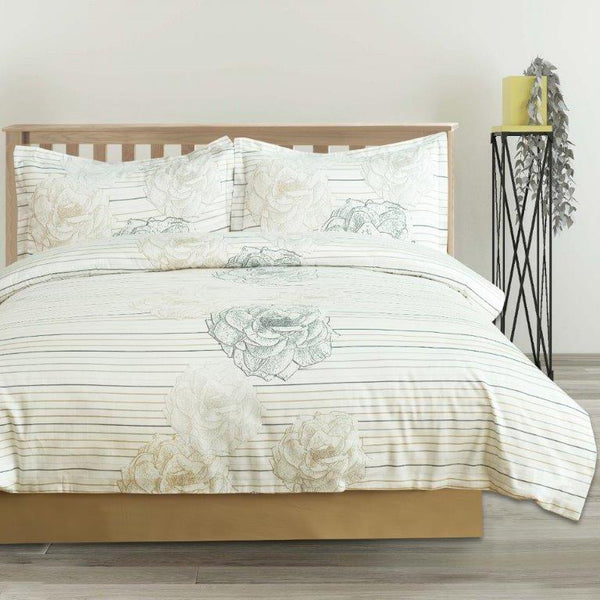 Elegant Linen Filigree 4 Piece Bedding set