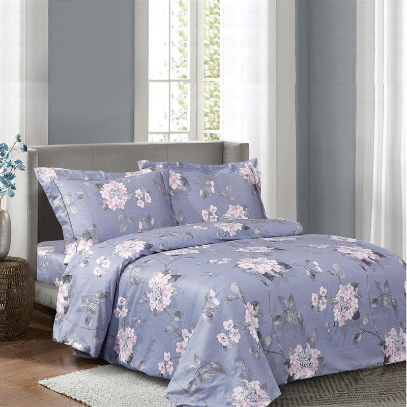 French Pink Violets 6 Piece Bedding Set
