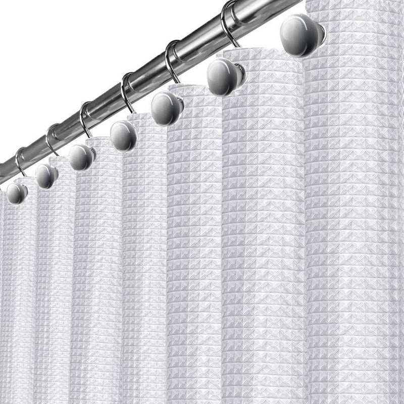 White Waffle Shower Curtain with Liner
