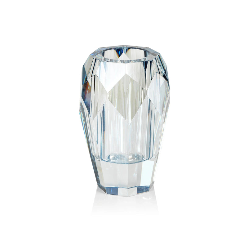 Veniza Cut Crystal Vase - Light Blue