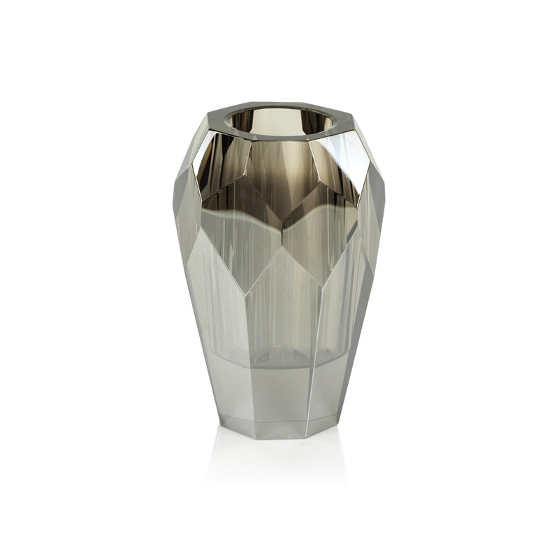 Veniza Cut Crystal Vase - Smoke