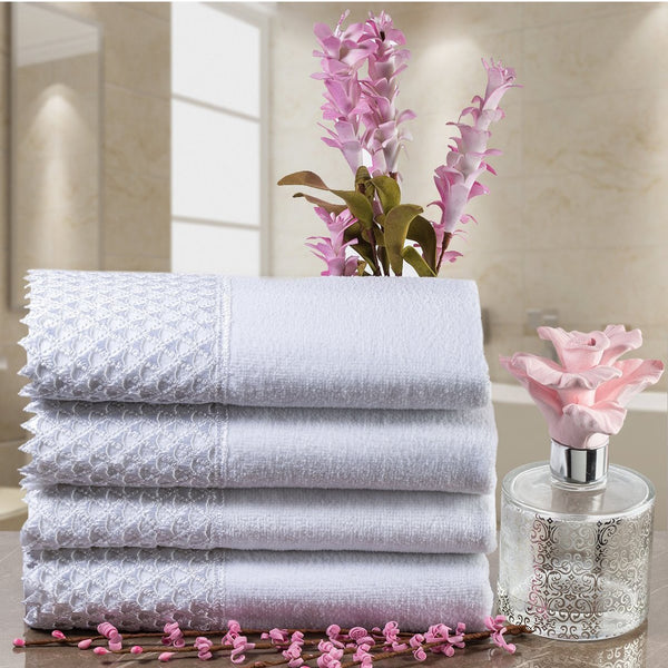 Creative Scents Cotton Velour Fingertip White Towel With White Lace (set of 4)