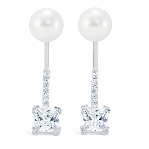 Cz Drop Pearl Ear Jacket - Kristin Perry Accessories