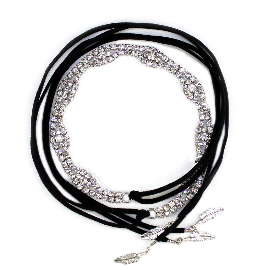 Sparkle and Suede Wrap Bracelet - Kristin Perry Accessories - 1