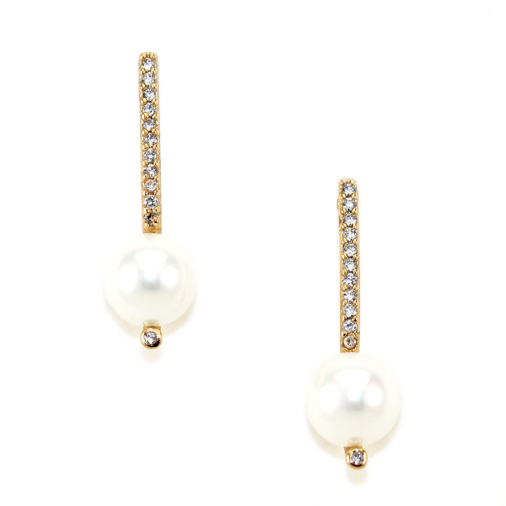 Pave' Bar Pearl Studs - Kristin Perry Accessories - 1
