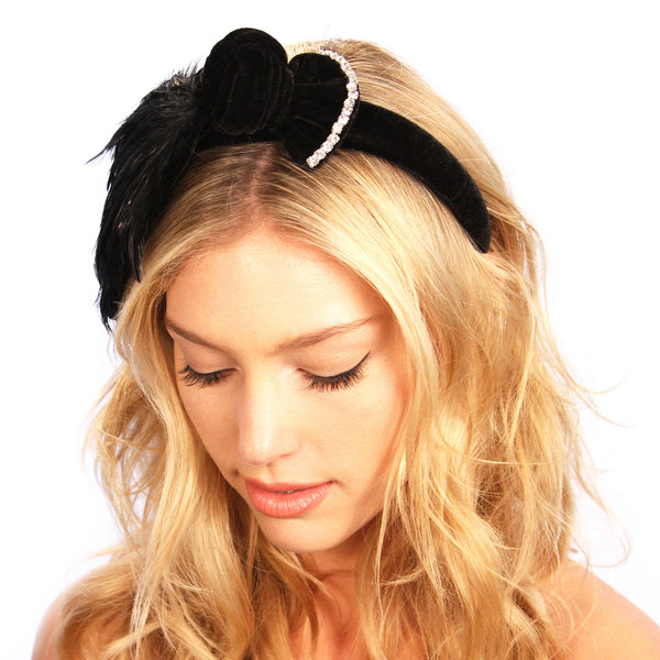 Feathered Bow Headband - Kristin Perry Accessories