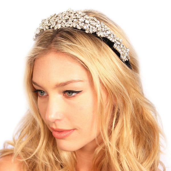BLACK CRUSTED TIARA HEADPIECE - Kristin Perry Accessories - 1