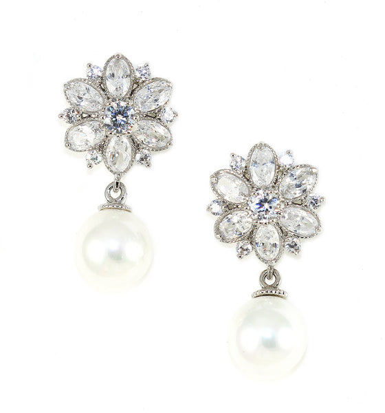 Floral Pearl Drop Earrings - Kristin Perry Accessories - 1
