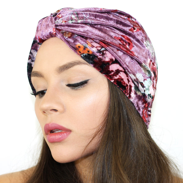 Floral Velvet Turban - Kristin Perry Accessories