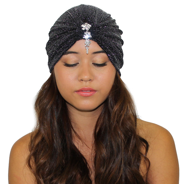 Cascading Crystals Glitter Turban - Kristin Perry Accessories